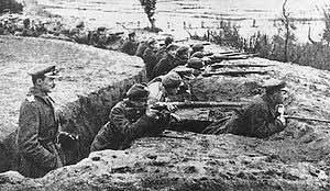 Польские окопы в Белоруссии во время сражения на Немане, октябрь 1920