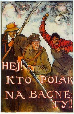 Эй, кто поляк, в штыки! Плакат с цитатой из «Варшавянки» 1831 года