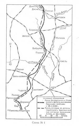 Линия фронта на 28 января 1920 г.