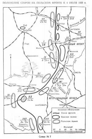 Положение сторон на польском фронте к 4 июля 1920 г.