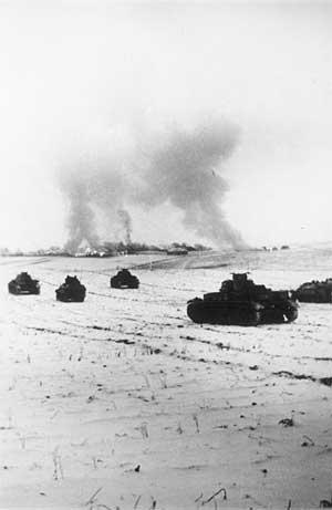 Немецкие танки атакуют советские позиции в районе Истры, 25 ноября 1941.