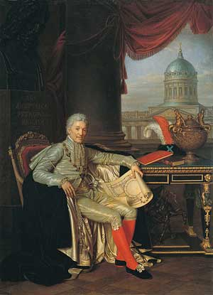 Портрет Строганова А. С. в одеянии кавалера ордена Андрея Первозванного