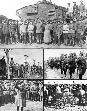 Сверху вниз, слева направо: Вооружённые силы Юга России в 1919 году, повешение австро-венгерскими войсками рабочих Екатеринослава во время австро-германской оккупации в 1918 году, красная пехота на марше в 1920 году, Л. Д. Троцкий в 1918 году, тачанка 1-й Конной армии.