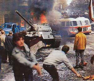 Советский танк в Праге. 1968 г.