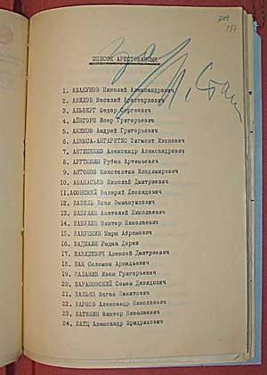 Список лиц, на смертный приговор которым испрашивается согласие, с именем И. Э. Бабеля (№ 12). Пометка «За» и подпись Сталина. 16 января 1940 г.