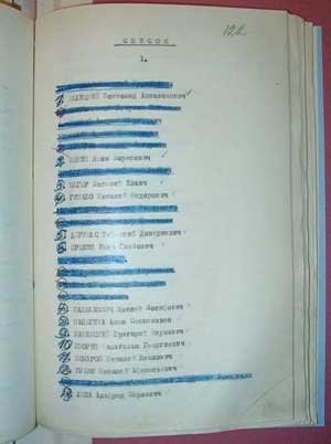 «Список лиц», которых руководство НКВД предлагало осудить к расстрелу в закрытом заседании Военной коллегии Верховного суда СССР