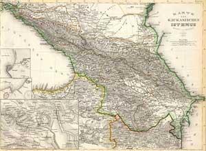Кавказский Истм. Карту нарисовал в 1856ом году J. Grassl (включает Тифлис и его окружение). (включает Анапу и его окружение). (включает Батуми и его окружение). Библиографический институт Хилдбурггаузен, (1860)