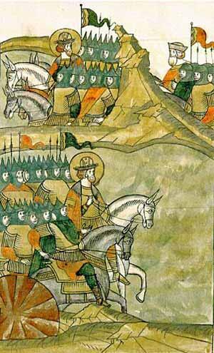 Русское войско выходит на Чудское озеро. Летописная миниатюра
