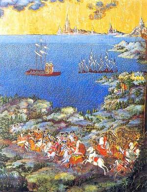 Невская битва (фрагмент иконы «Александр Невский со сценами жития», XIX век)