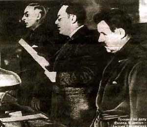 Прокурор СССР Вышинский А. Я. (в центре), гособвинитель на показательных московских процессах