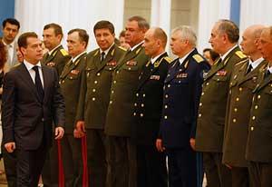 Д. А. Медведев с высшими офицерами