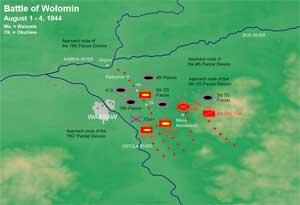 Схема столкновения под Радзимином 1-4 августа. XXX — корпус, ХХ — дивизия. Хорошо виден прорыв 3-го танкового корпуса в обход Варшавы и перехват его коммуникаций у Воломина и Радзимина.