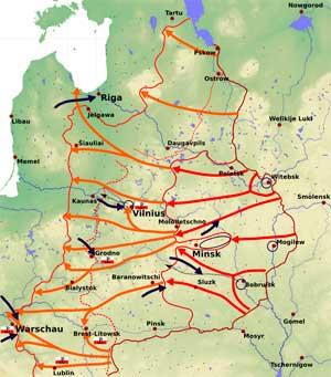 Общая схема операции «Багратион». Красные стрелы демонстрируют удары советских войск до 4 июля