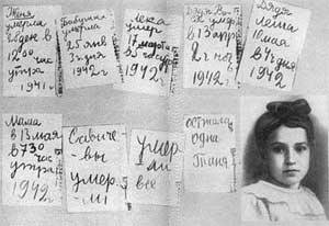 Страницы дневника Тани Савичевой