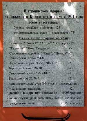Памятная доска, посвящённая морякам, погибшим при прорыве из Таллина в Кронштадт в 1941 году