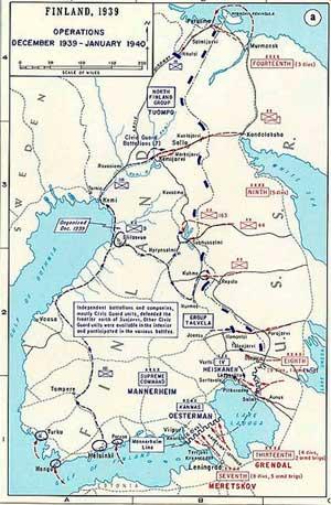 Схема военных действий в декабре 1939 — январе 1940