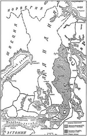 Карта с новой линией государственной границы между СССР и Финляндией, являющаяся приложением к Договору о взаимопомощи и дружбе между Советским Союзом и Финлядской Демократической Республикой от 2 декабря 1939 года.