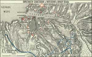 Расположение оборонительных позиций русских войск в Севастополе, 1854 г.