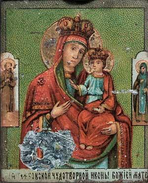 Икона «Пресвятая Богородица Тамбовская». Найдена следствием в 1919 году в доме Ипатьева. Свято-Троицкая Духовная Семинария, Джорданвилль, США