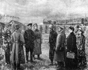 «Передача семьи Романовых Уралсовету». Художник В. Н. Пчелин. 1927 год