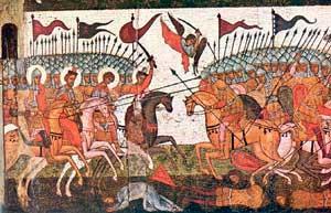Битва новгородцев и суздальцев в 1170 году, фрагмент иконы 1460 г.,