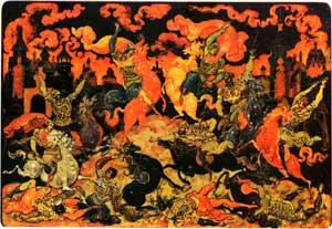 И. И. Голиков. «Куликовская битва», палехская миниатюра, шкатулка, 0928. МНИ